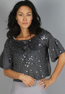 LaRok Sequined Embellished Grey Gray Crop Sleeve Sweater Holiday Fashion