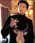 Colin Firth Mark Darcy Ugly Holiday Reindeer Sweater Bridget Jones Diary