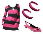 Pink & Black Striped Rugby Shirt Marc Jacobs Flats Earrings Fashion Accessories