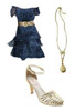 Ruffled Party Dress Holiday Fashion Metallic Shoes Sandals Fashion Accessories
