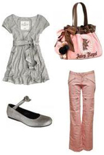Pale Pink Trousers Pants Gray Grey Tunic Silver Metallic Mary Janes Flats