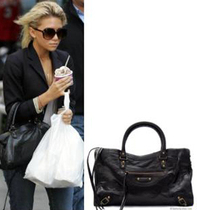 Ashley Olsen Black Balenciaga Motorcycle Bag