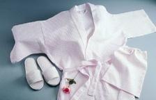 White Plush Cotton Spa Robe Slippers_2