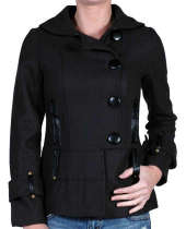 Military Inspired Peacoat Vegan Trim