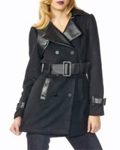 Black Wool Belted Trench Coat