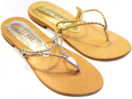 Metallic Gold Silver Flat Greek Thong Sandal
