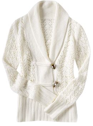 White Shawl Collar Cardigan Grandma Grandpa Chic Sweater