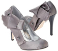 Pewter Satin Studded Pumps Silver Fashion Accessories