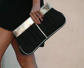 Eco Chic Black Gold Clutch Heather Heron Sustainable Fashion Accessories