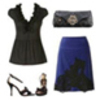 Fashmatch cute outfit navy pencil skirt date cocktail lookt