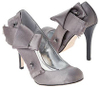 Pewter silver satin studded pumps