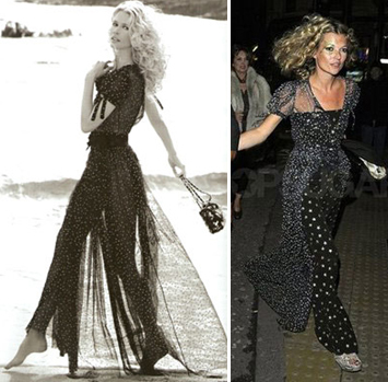 Chanel gown kate moss birthday party claudia schiffer ad campaign