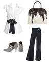 Missoni Dripping Chocolate Bag White Blouse Gray Grey Booties Office Chic