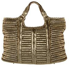 Metallic Gold handwoven tote shopper Fashion Accessories Anya Hindmarch