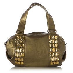 Olivia bronze embellished leather satchel