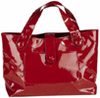 Red patent leather tote bag purse