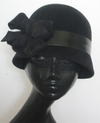 Black wool cloche flapper hat winter fashion accessories millinery in the movies