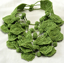 Green hand beaded floral bib necklace handmade artisan indie fashion designer accessories