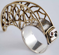 Handmade gold silver mother of pearl claw scaffolding ring artisan fine jewelry jewellery