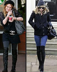 Thigh high boots kate moss hilary duff celeb fashion style trends