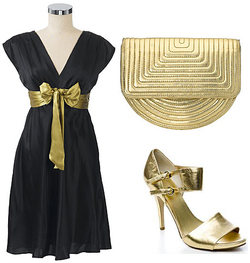 Lbd little black dress metallic gold accessories sandals quilted clutch