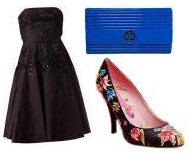Lbd little black dress cobalt blue Tory Burch clutch floral pumps what to wear on a date for cocktails