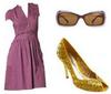 Purple dress gold sequin peeptoe pumps