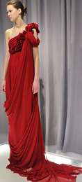 Marchesa fall 2008 red drapey floor length red carpet fashion goddess gown