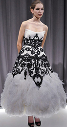 Marchesa fall 2008 feather embellished black and white red carpet dramatic gown fashion