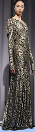Marchesa fall 2008 floor length red carpet shimmery shiny brocade fashion gown