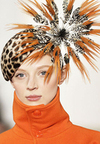Ralph lauren leopard feathered cocktail hat fall 2008