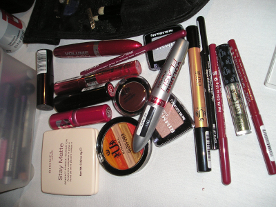 Pile of Rimmel makeup backstage Tiffany koury fall 2008