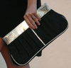 Eco chic black gold clutch purse bag handbag heather heron