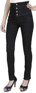 High waist waisted dark denim black skinny jeans