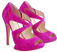 Bright Hot pink Fuschia suede spring sandals shoes nicholas kirkwood