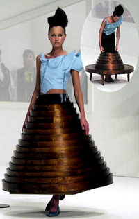 Hussein chalayan wooden table furniture skirt