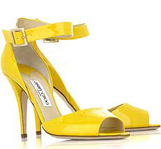 Yellow patent leather jimmy choo love sandals