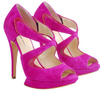 Hot pink fuschia suede sandals