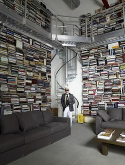 Karl lagerfeld photograph at home in his library self portrait