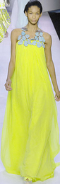 Giambattista valli bright neon yellow evening gown dress spring 2008