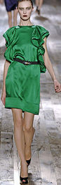 Lanvin bright emerald green_ silk charmeuse runway dress spring 2008