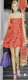 Valentino orange ruffled flapper 20s runway dress spring 2008
