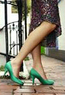 stylish bright emerald green vegan pumps