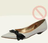 stylish White vegan pointy flats black bow