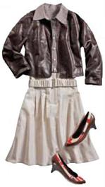 leather Bomber jacket white skirt safari chic