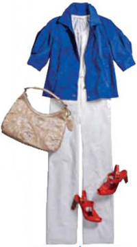 Casual timeless summer chic cobalt blue anne klein cropped anorak jacket white trousers red shoes