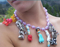 Chunky plastic cartoon figure necklace