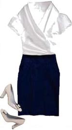Dark Pencil skirt white puff sleeve blouse secretary chic