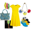 Spring 2008 bright color trend canary yellow dress oversize flower necklace