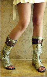 Silk brocade peep toe flat cutaway sandal roman boot_2